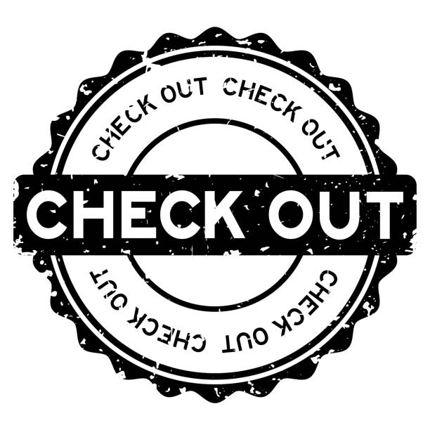 grunge black check out word round rubber seal stamp on white background - hotel reception stock illustrations