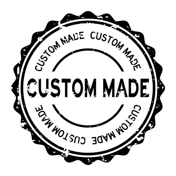 grunge black custom made word round rubber seal stamp on white background - customize stock illustrations