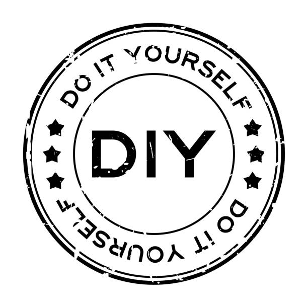 Grunge black DIY word (Abbreviation of Do it yourself) round rubber seal stamp on white background Grunge black DIY word (Abbreviation of Do it yourself) round rubber seal stamp on white background diy stock illustrations