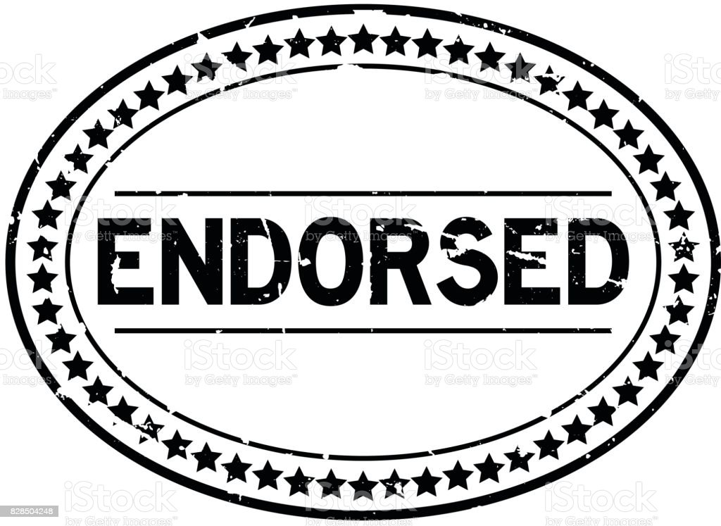 Grunge black endorsed oval rubber seal stamp on white background vector art illustration