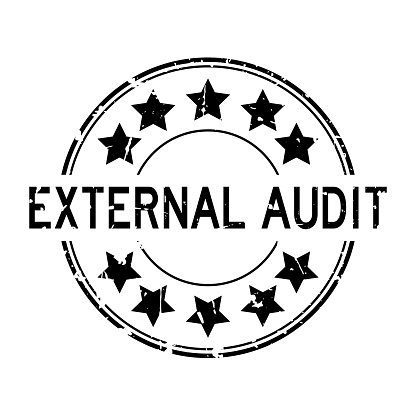 Grunge black external audit word with star icon round rubber seal stamp on white background