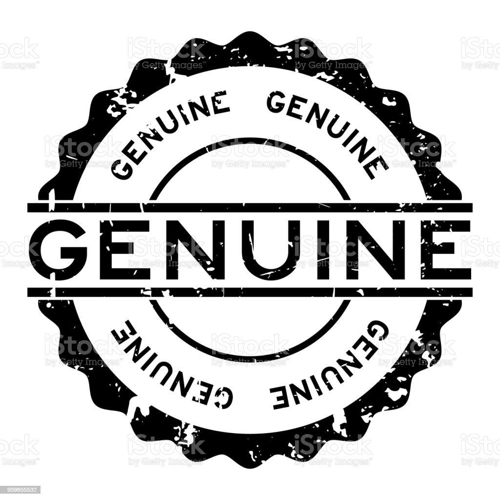 Grunge negro genuino palabra redonda sello sello fondo blanco - arte vectorial de Anuncio libre de derechos