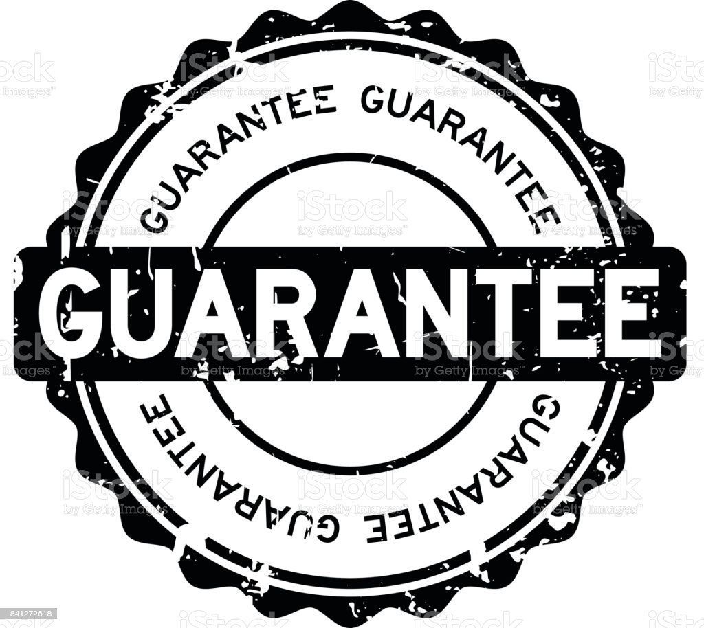 Grunge black guarantee round rubber seal stamp on white background vector art illustration