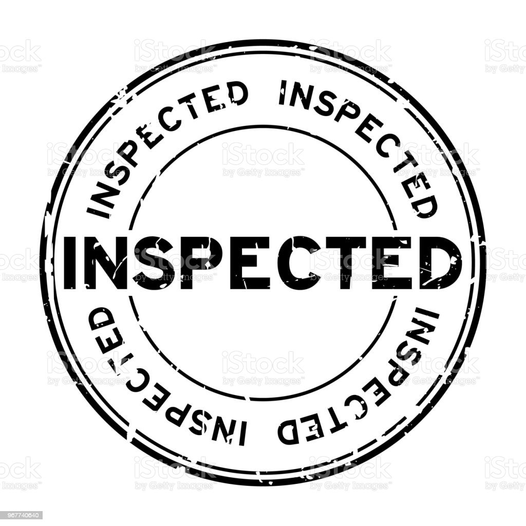 Grunge black inspected word round rubber seal stamp on white background vector art illustration