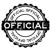 Grunge black official round rubber seal stamp on white background
