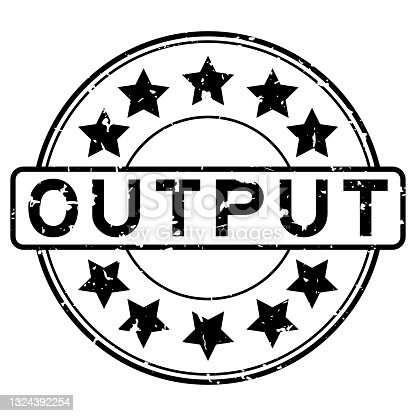 istock Grunge black output word with star icon round rubber seal stamp on white background 1324392254