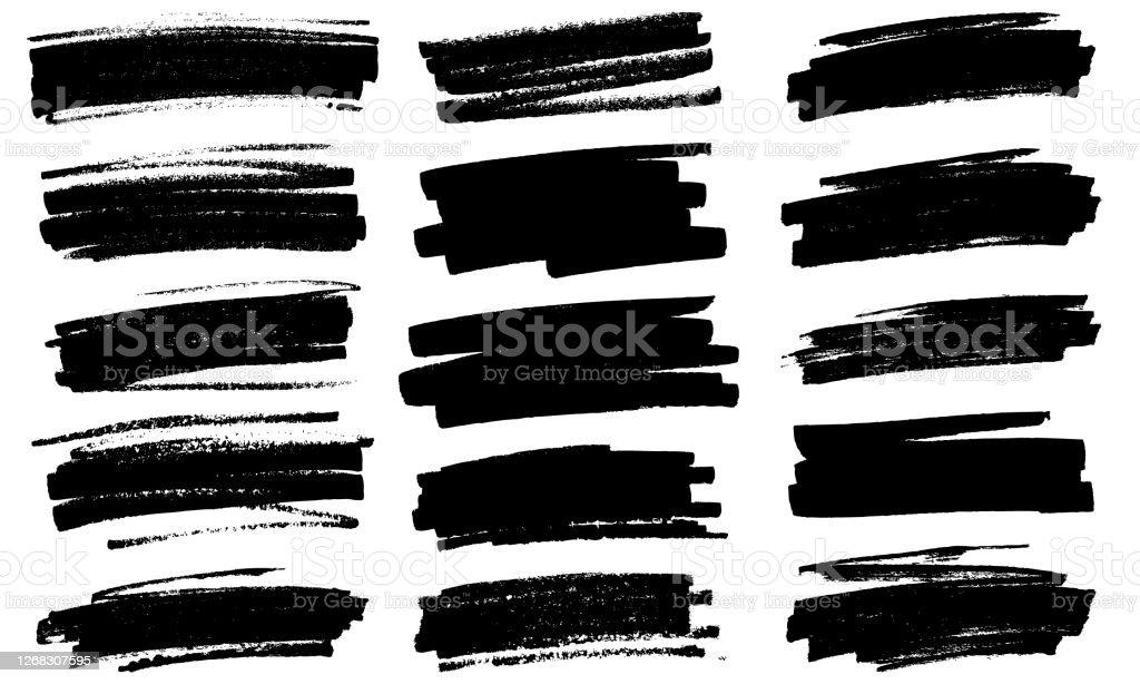 Grunge black paint marker strokes vector Black paint marker grunge marks illustration Abstract stock vector