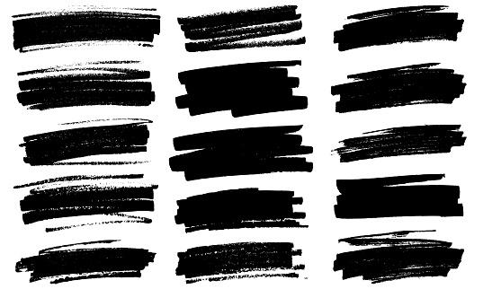 Black paint marker grunge marks illustration