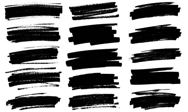 Grunge black paint marker strokes vector vector art illustration