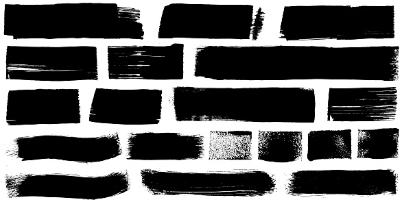 Black paint brush marker strokes grunge marks illustration
