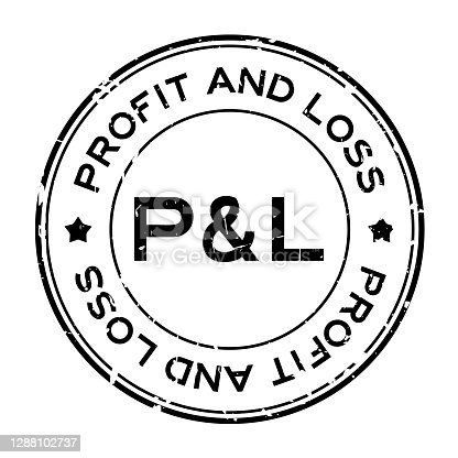 istock Grunge black P&L (abbreviation of profit and loss) word round rubber seal stamp on white background 1288102737