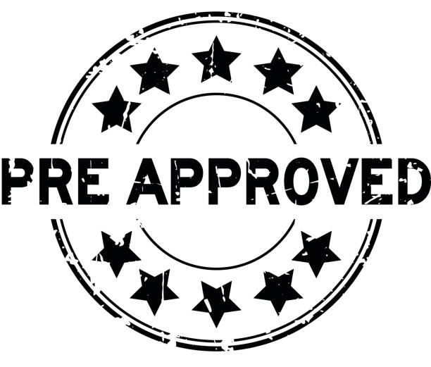 Grunge black pre approved with star icon round rubber seal stamp on white background vector art illustration