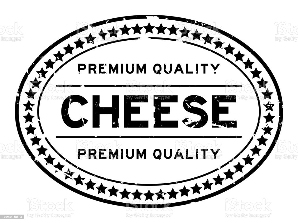 Grunge black premium quality cheese oval rubber seal stamp on white background vector art illustration