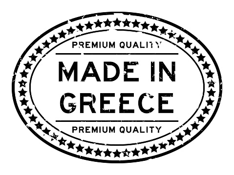 Grunge black premium quality made in Greece oval rubber seal stamp on white background