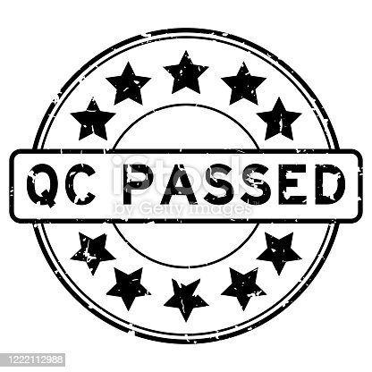 Grunge black QC (Quality control) passed word round rubber seal stamp on white background