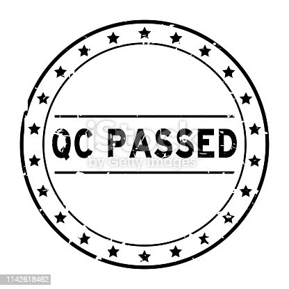 Grunge black QC (quality control) passed word with star icon round rubber seal stamp on white background