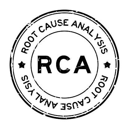 Grunge black RCA root cause analysis word round rubber seal stamp on white background