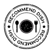 Grunge black recommended dish word with dish, spoon and fork icon rubber seal stamp on white background
