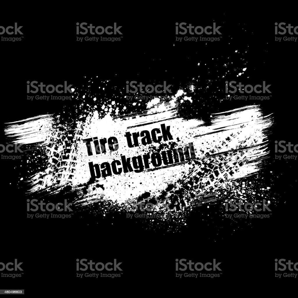 Grunge black tire track background vector art illustration
