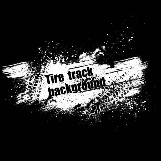 stockillustraties, clipart, cartoons en iconen met grunge black tire track background - bandenspoor
