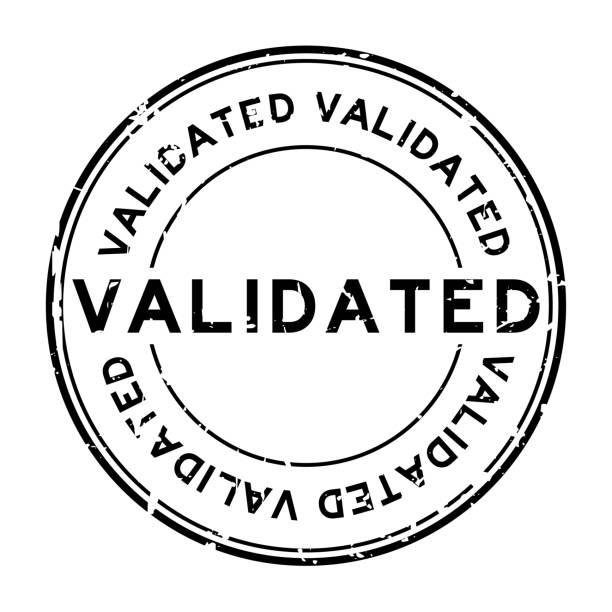 Grunge black validate round rubber stamp on white background Grunge black validate round rubber stamp on white background validation stock illustrations