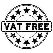 Grunge black vat free word with star icon round rubber seal stamp on white background