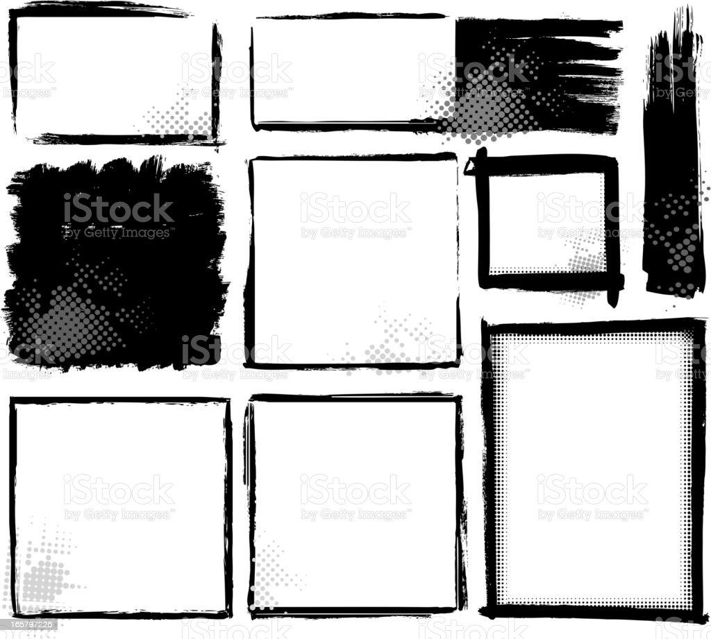 grunge blank frame set royalty-free stock vector art