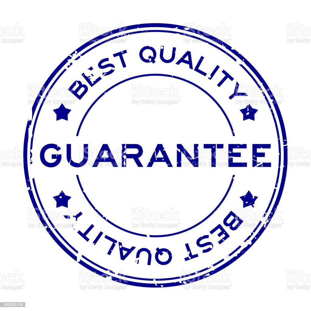 grunge blue best quality guarantee round rubber seal stamp on white
