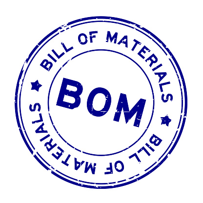 Grunge blue BOM Bill of Materials word round rubber seal stamp on white background