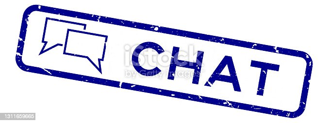 istock Grunge blue chat word with speech communication icon square rubber seal stamp on white background 1311659665