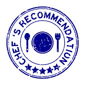 Grunge blue chef 's recommendation round rubber seal stamp on white background