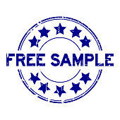 Grunge blue free sample with star icon round rubber seal stamp on white background