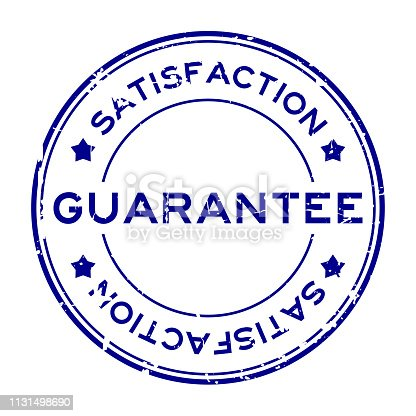Grunge blue guarantee satisfcation round rubber seal stamp on white background