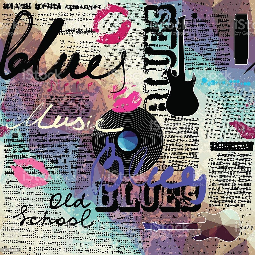 Grunge blue newspaper with original inscriptions Blues and music vektör sanat illüstrasyonu