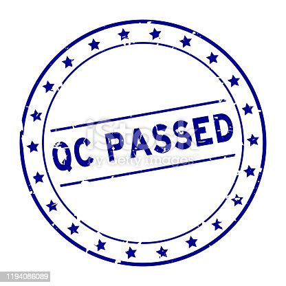 Grunge blue QC (quality control) passed word with star icon round rubber seal stamp on white background