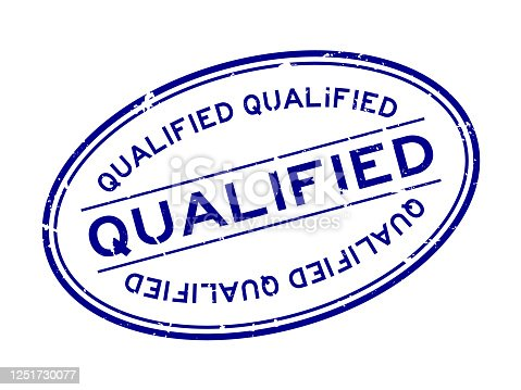istock Grunge blue qualified word oval rubber seal stamp on white background 1251730077
