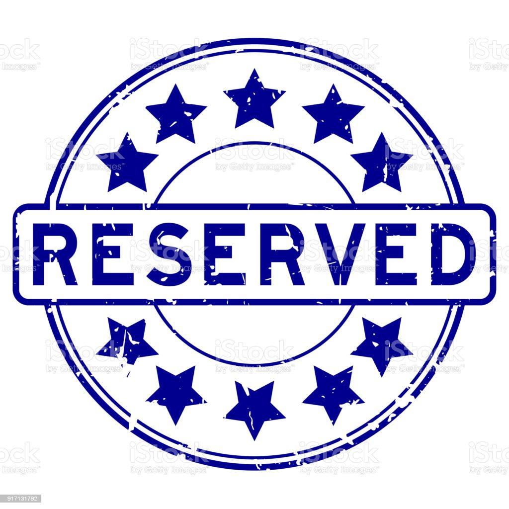 Reserva de Grunge azul con estrella icono redondo sello de goma - ilustración de arte vectorial