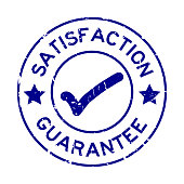 Grunge blue satisfaction guarantee with mark icon round rubber seal stamp on white background