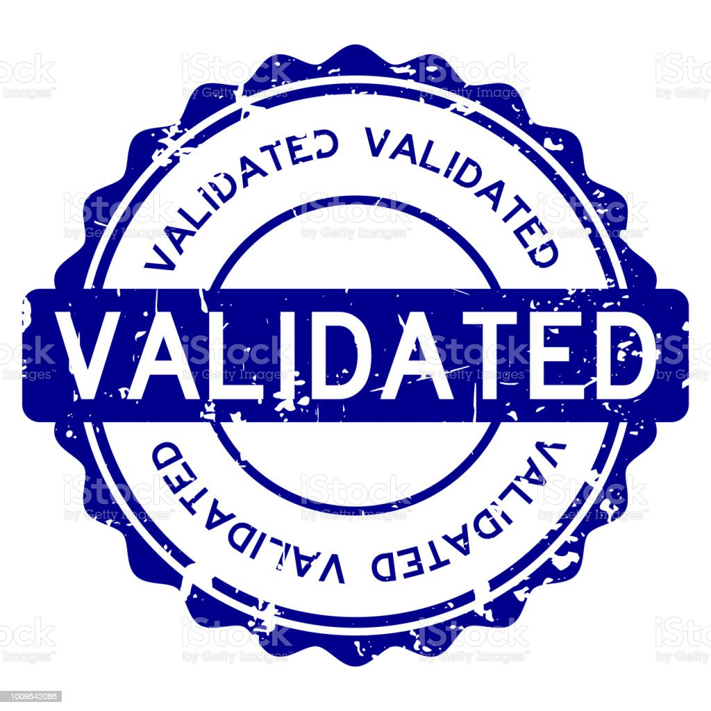 Grunge Blue Validated Wording Round Rubber Seal Stamp On White Background Royalty Free