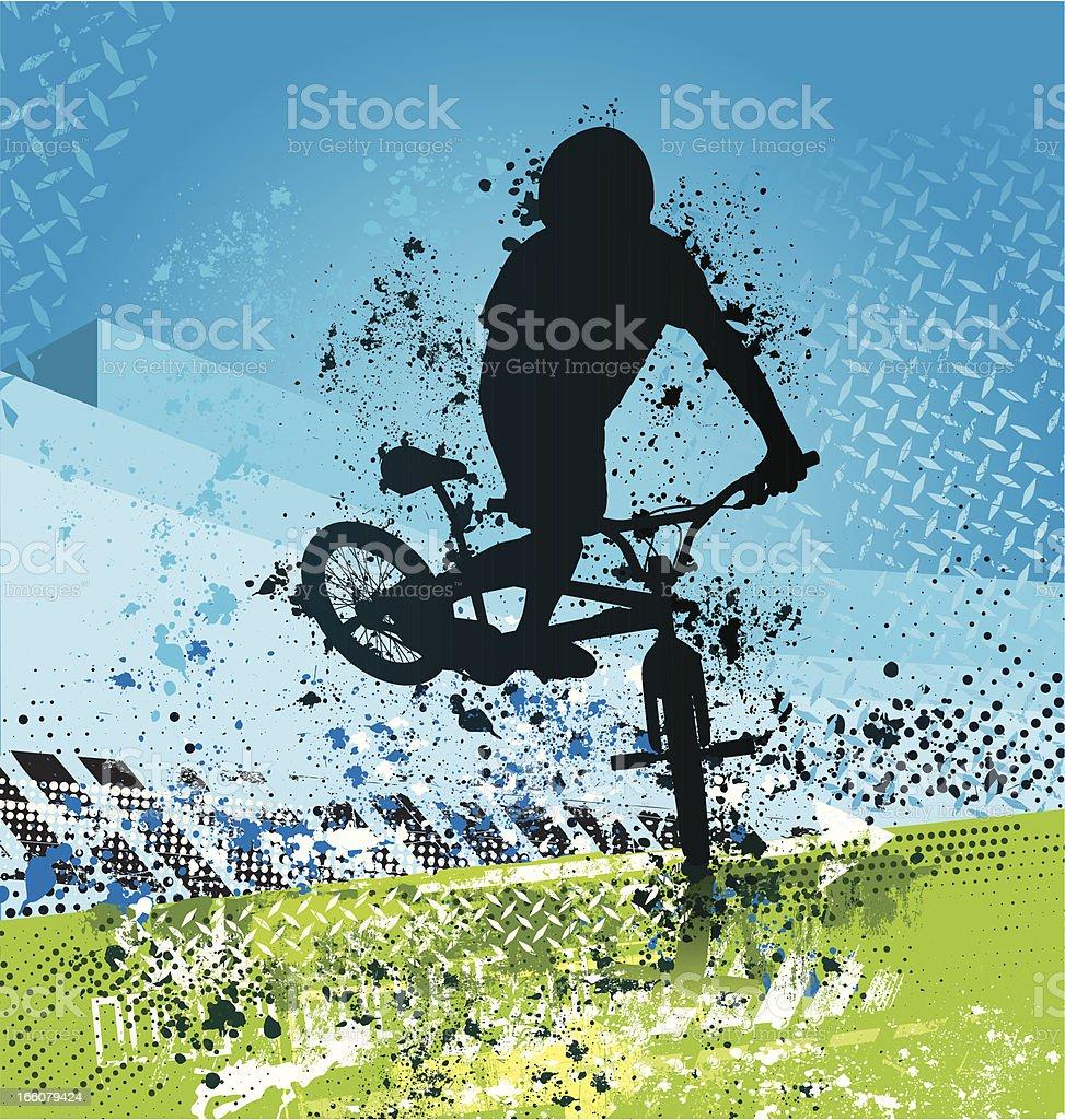Grunge BMX biker on blue and green background vector art illustration