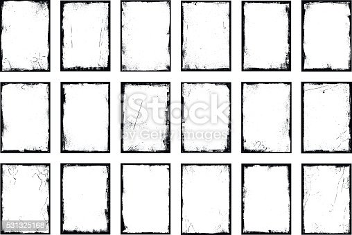 18 grunge border frames isolated on white background. Carefully named and placed in layers panel. Easy to select and edit