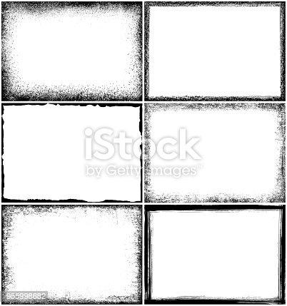 Set of grunge border frames. Rectangle design elements