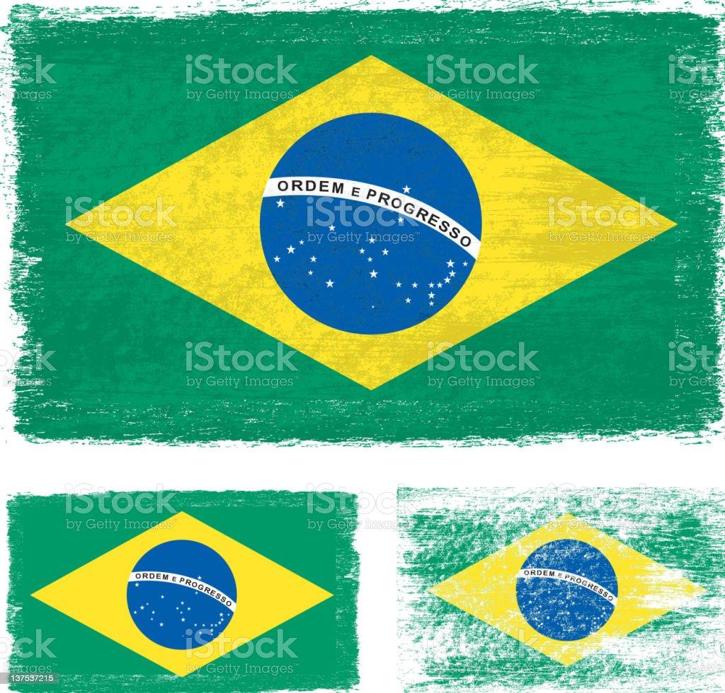Grunge Brazil flag vector art illustration