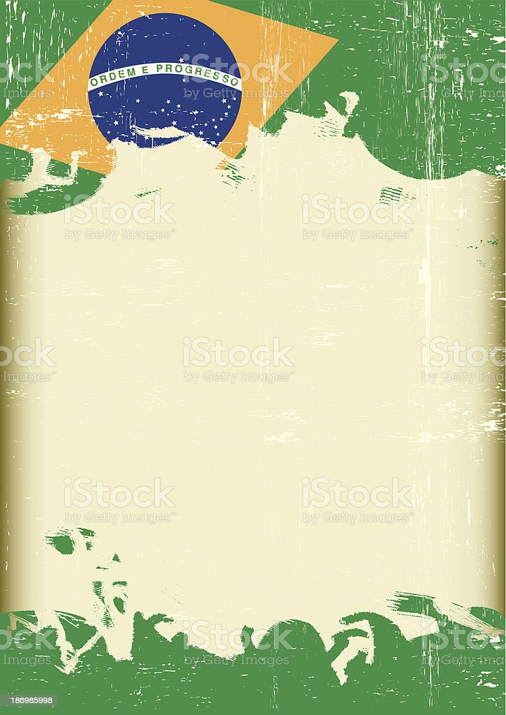 Grunge Brazilian flag vector art illustration