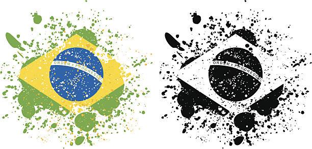 Grunge Brazilian Flag vector art illustration