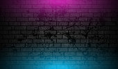 Grunge brick wall with blue purple neon illumination abstract background. Vector retro design