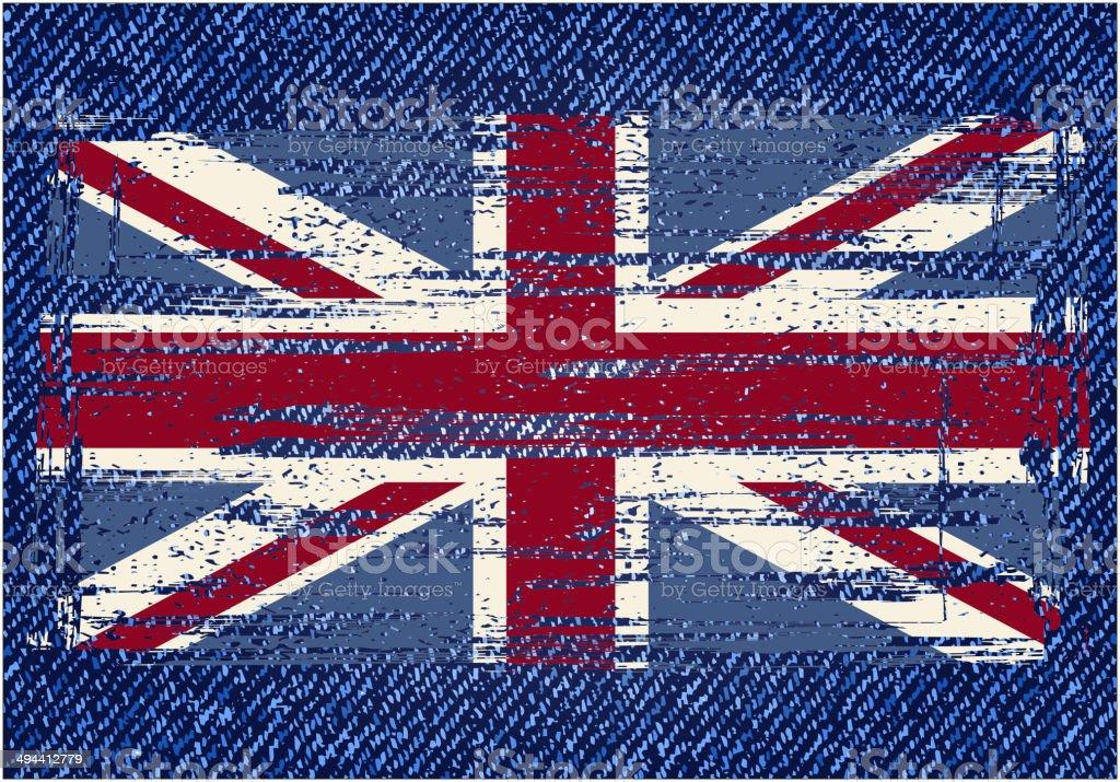 Grunge British flag on jeans background vector art illustration
