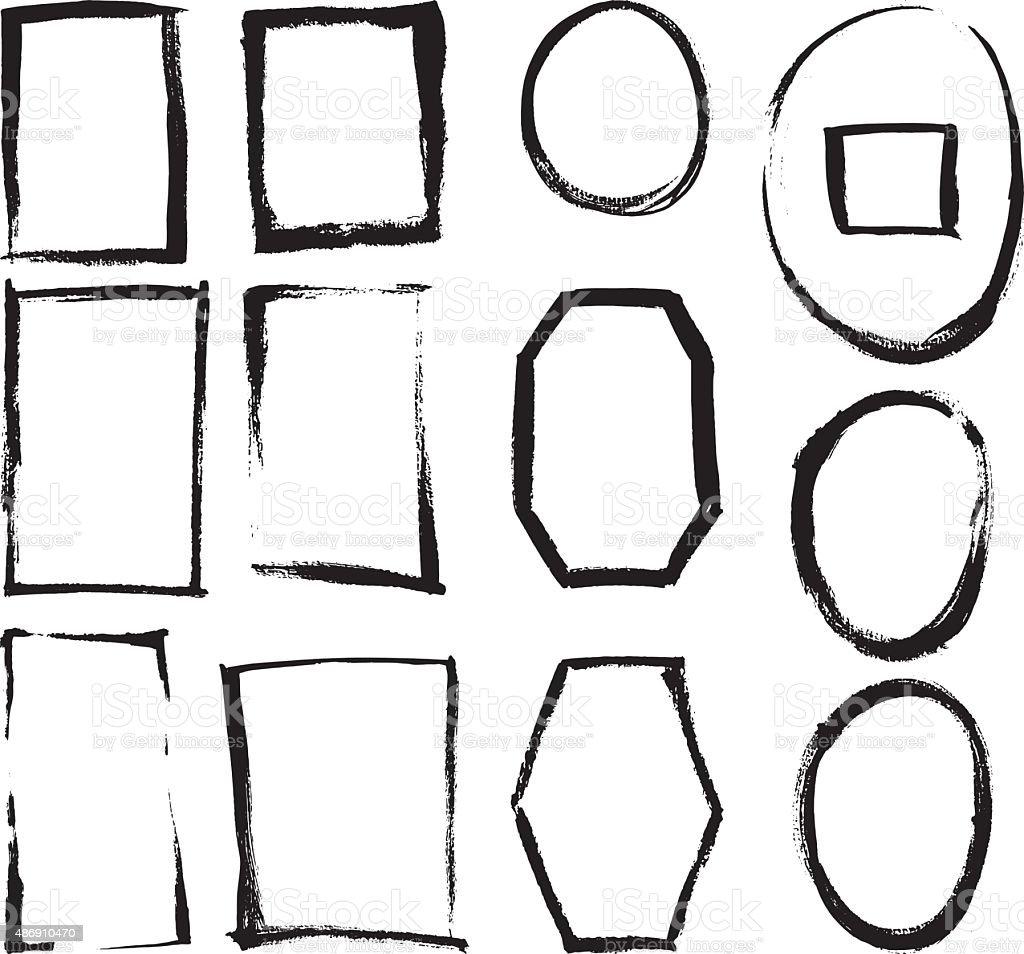 Cepillo Grunge bastidores - ilustración de arte vectorial