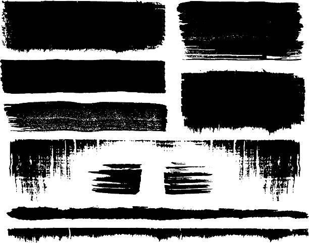 grunge pinsel set - breit stock-grafiken, -clipart, -cartoons und -symbole