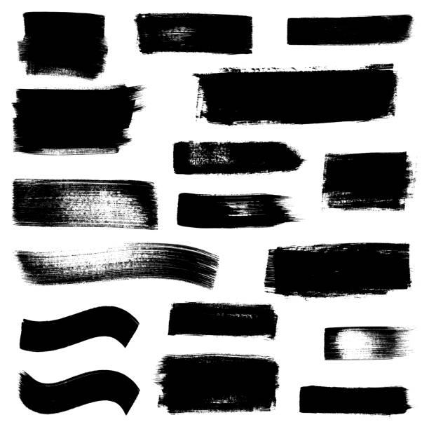 Grunge brush stroke design elements isolated on white background Grunge brush stroke design elements isolated on white background paint roller stock illustrations